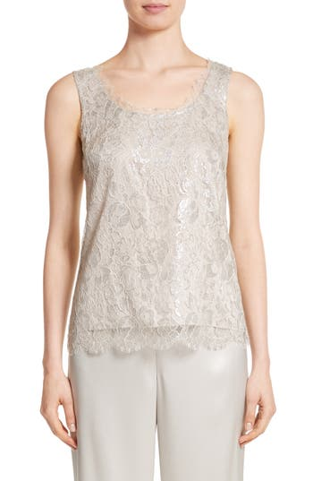St. John Collection Metallic Lace Tank