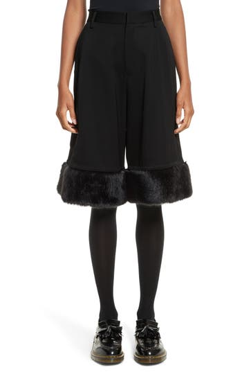 noir kei ninomiya Crop Wide Leg Pants with Faux Fur Trim
