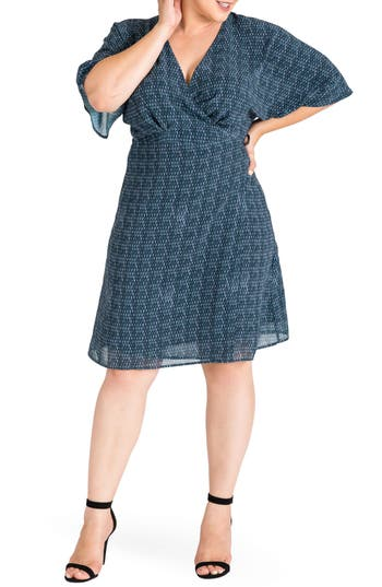 Standards & Practices Candice Georgette Wrap Dress (Plus Size)