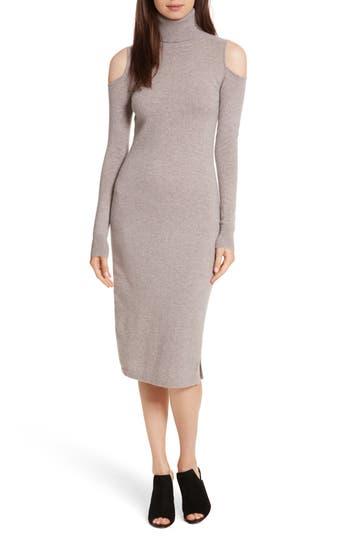 autumn cashmere Cashmere Cold Shoulder Turtleneck Sweater Dress