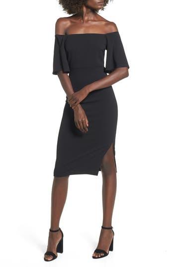 Soprano Off the Shoulder Ponte Body-Con Dress