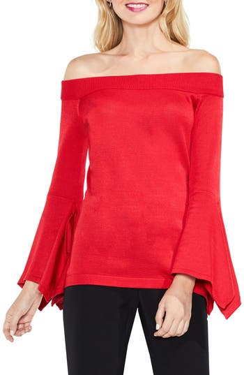 Vince Camuto Off the Shoulder Handkerchief Bell Sleeve Sweater