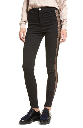 Topshop Jamie Fishnet High Waist Ankle Skinny Jeans