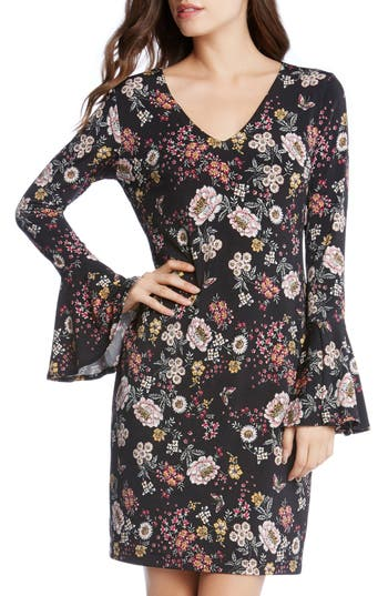 Karen Kane Floral V-Neck Bell Sleeve Dress