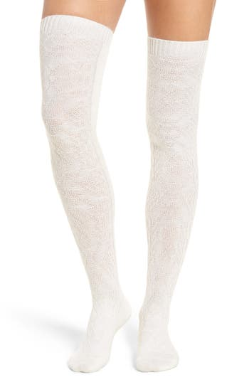 Peony & Moss Cable Knit Thigh High Socks