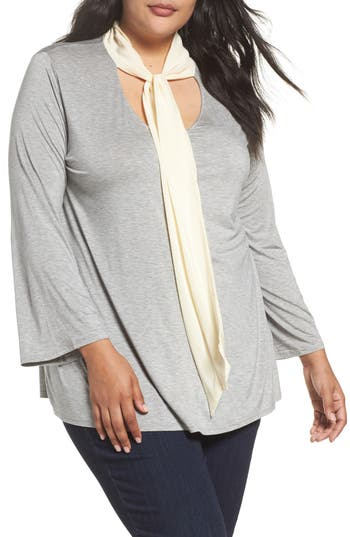 Three Dots Tie Neck Jersey Top (Plus Size)