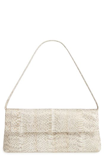 Nancy Gonzalez Gotham Genuine Snakeskin Metallic Clutch