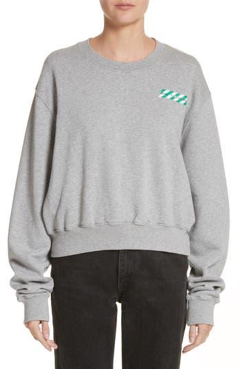 Off-White Woman Tape Crop Crewneck Sweater