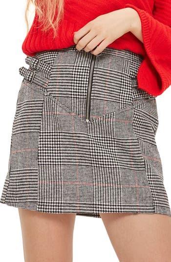 Topshop Side Buckle Check Miniskirt