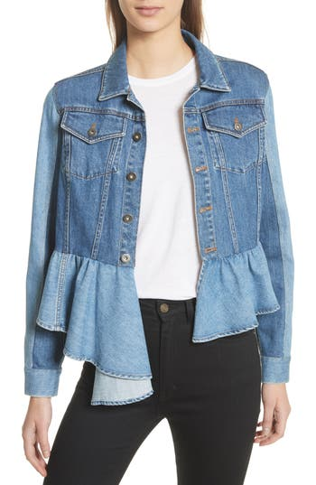Bicolor Peplum Hem Denim Jacket by Sea