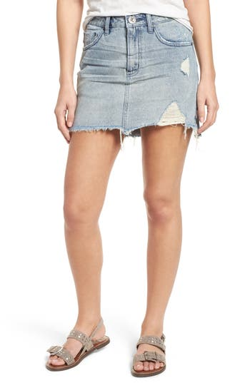 Distressed Denim Miniskirt by One Teaspoon
