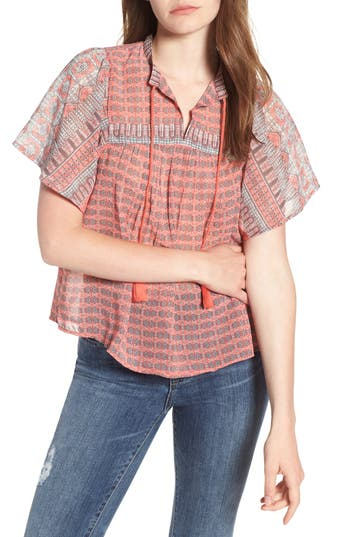 Lucky Brand Short Sleeve Print Peasant Top