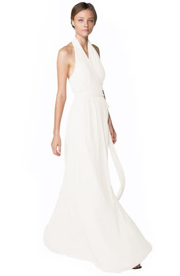 Ceremony by Joanna August 'Amber' Side Tie Chiffon Halter Gown