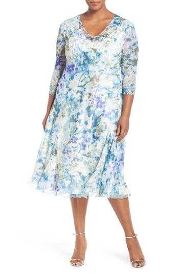 Komarov Print Three-Quarter Sleeve Chiffon A-Line Dress (Plus Size)