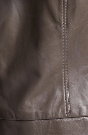 Hooded Leather Jacket,                             Alternate thumbnail 4, color,                             Brown Iron