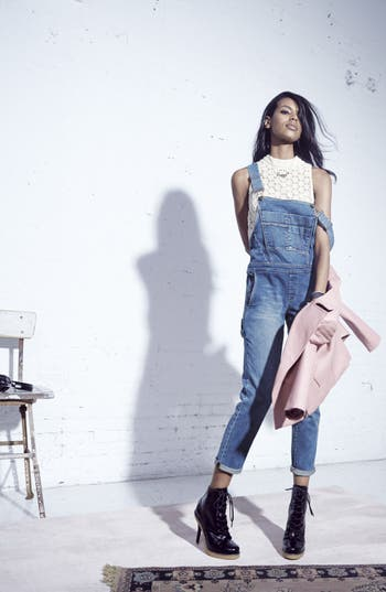 Alternate Image 1 Selected - BLANKNYC Overalls, ASTR Lace Top & Mural Faux Leather Moto Jacket