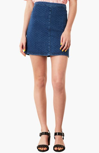 Main Image - Topshop Moto Dobby Denim Skirt
