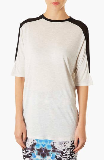 Main Image - Topshop Mesh Inset Elbow Tee