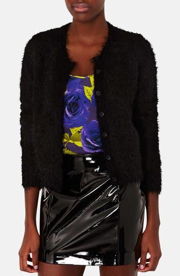 Main Image - Topshop Textured Crewneck Cardigan