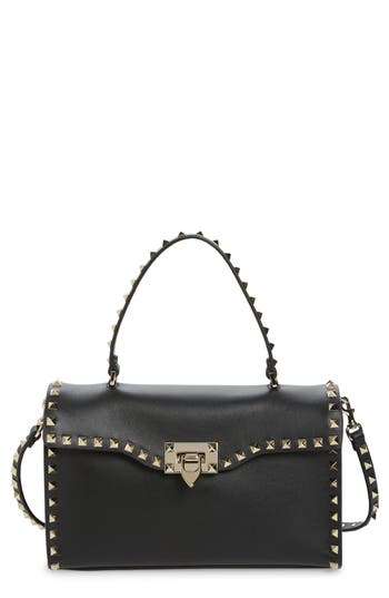 VALENTINO GARAVANI Small Rockstud Leather Top Handle Satchel