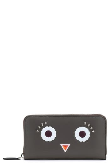 Fendi Faces Leather Zip Around Wallet