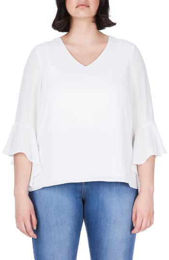 ELVI Bell Sleeve Top (Plus..
