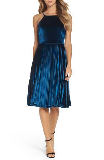 Chelsea28 Pleated Velvet Fit Amp Flare Dress Nordstrom