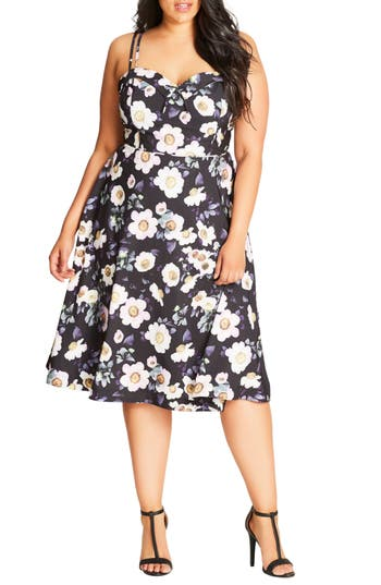 City Chic Daytime Diva Fit & Flare Dress (Plus Size)