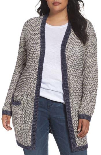 Caslon Textured Open Front Cardigan (Plus Size)