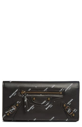 Balenciaga Classic Money Logo Leather Wallet