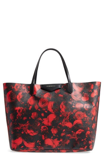 Givenchy Antigona Rose Print Coated Canvas Shopper