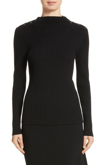 St. John Collection Flat Rib Knit Mock Neck Sweater