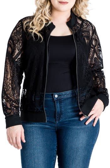 Standards & Practices Aria Lace Bomber Jacket (Plus Size)