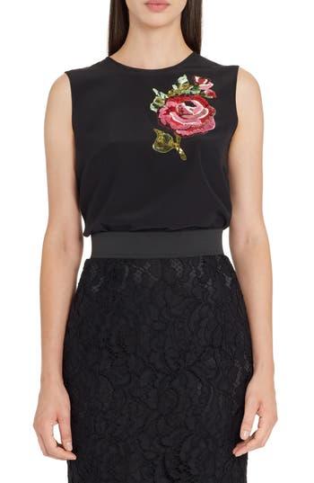 Dolce&Gabbana Rose Embellished Silk Blouse