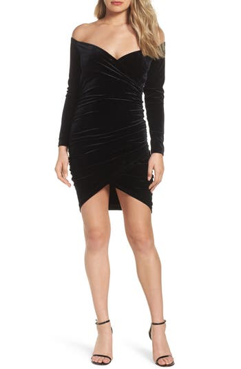 Bardot Alex Off the Shoulder Velvet Body-Con Dress