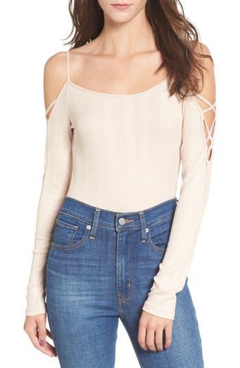 Lace Sleeve Cold Shoulder Bodysuit