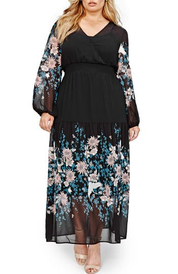 Michel Studio Border Print Chiffon Maxi Dress (Plus Size)