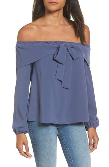 MOON RIVER Bow Detail Off the Shoulder Top
