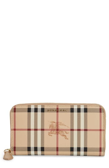 Burberry Elmore Haymarket Check Coated Canvas & Leather Zip Around Wallet
