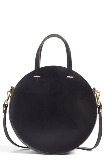 Clare V. Petite Alistair Leather Circular Crossbody Bag