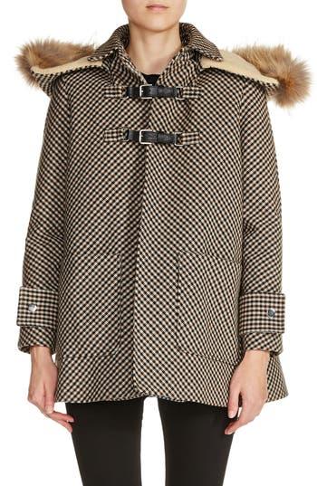 maje Faux Fur Trim Duffle Coat