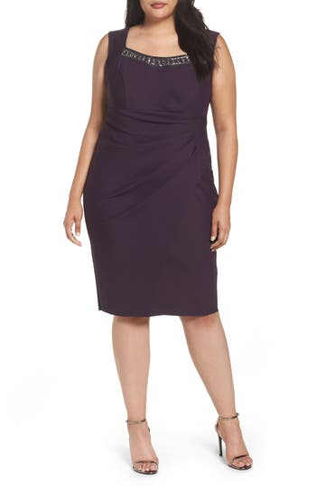 Alex Evenings Embellished Square Neck Sleeveless Sheath Dress (Plus Size)