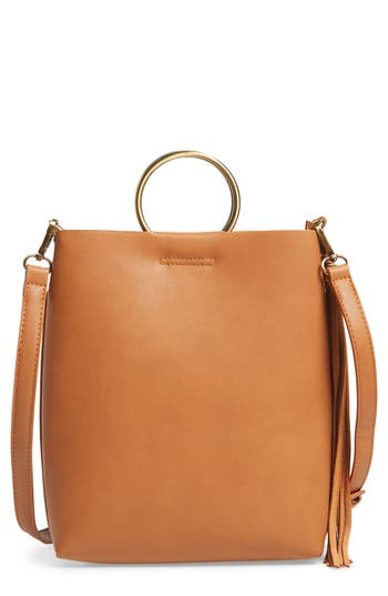 Street Level Mini Faux Leather Ring Handle Tote