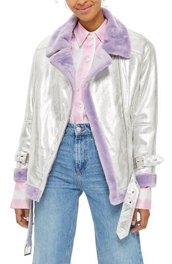 Topshop Faux Fur Metallic Biker Jacket