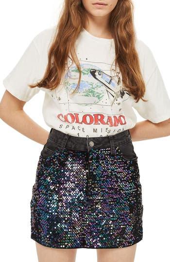 Topshop Beetle Sequin Denim Miniskirt