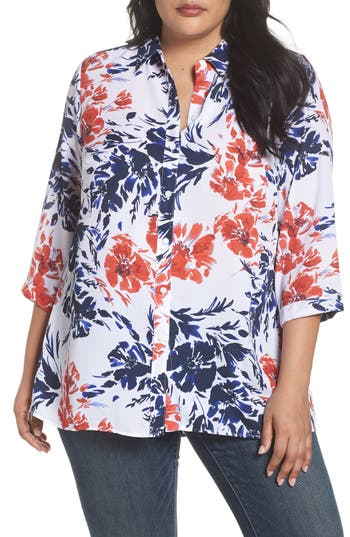 Foxcroft Gigi Breezy Floral Top Plus Size