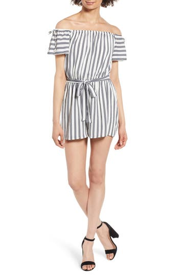 Stripe Off The Shoulder Romper by One Clothing