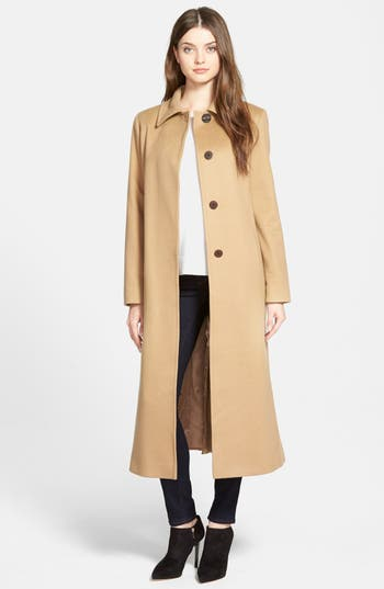 Fleurette Point Collar Long Cashmere Coat (Regular & Petite)