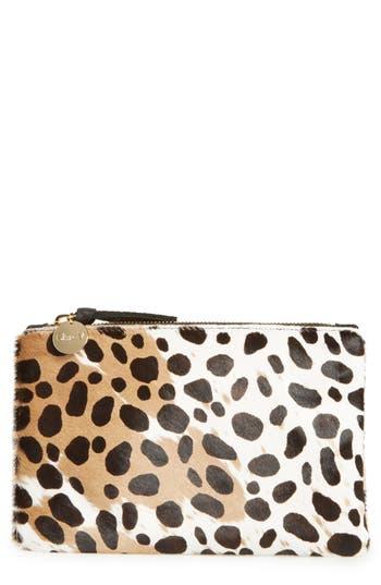 Clare V. 'Core' Leopard Print Genuine Calf Hair Pouch