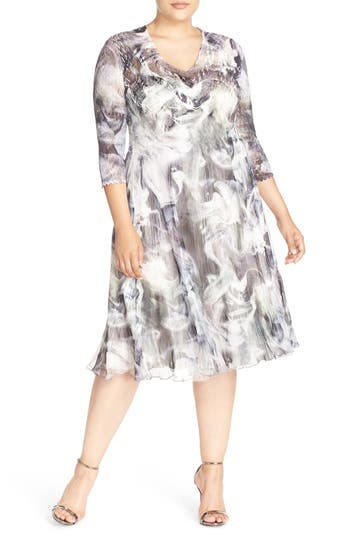 Komarov Abstract Print Chameuse & Chiffon V-Neck Dress (Plus Size)
